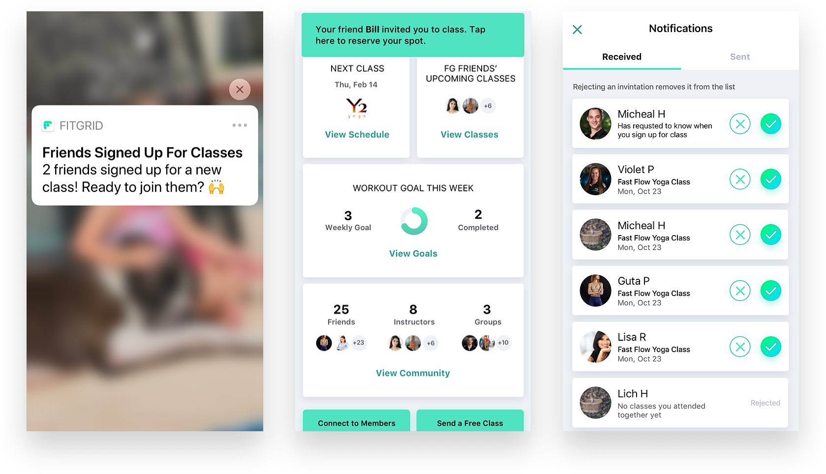 FitGrid Class App Notifications